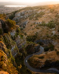 Cheddar gorge in Somerset, UK