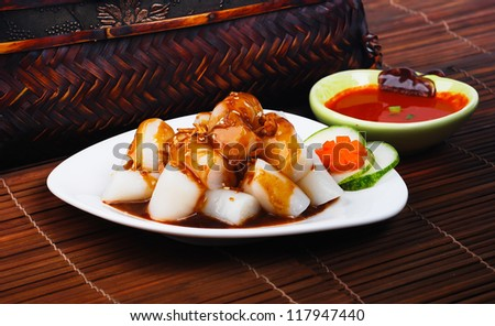 Chee Cheong Fun. Chinese rice noodle roll - stock photo
