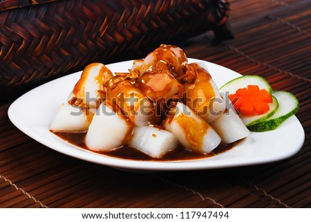 Chee Cheong Fun. Chinese rice noodle roll