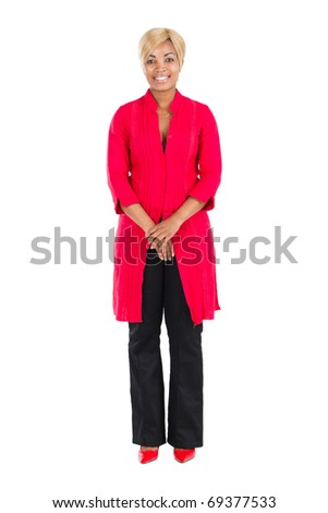 cheerful african american woman full length portrait in studio