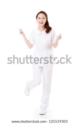 Cheerful Asian nurse, woman portrait isolated on white background.