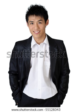 Cheerful Asian young businessman on white background.
