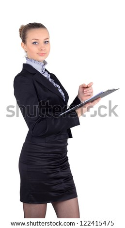 Cheerful beautiful business woman with clipboard writing, white background