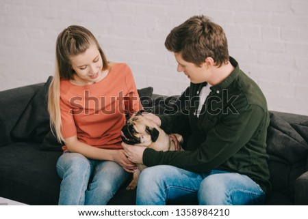 cheerful blonde woman and happy man touching cute pug dog on sofa