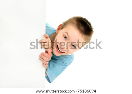 cheerful boy with blank cardboard isolated on the white