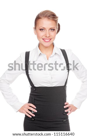 cheerful business woman smiling and looking at camera. studio shot over white background