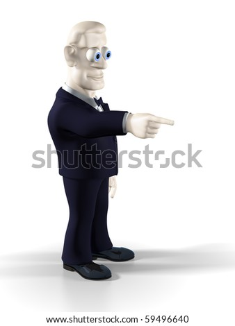 Cheerful businessman dressed in tuxedo pointing to the right. Illustration. 3D render.