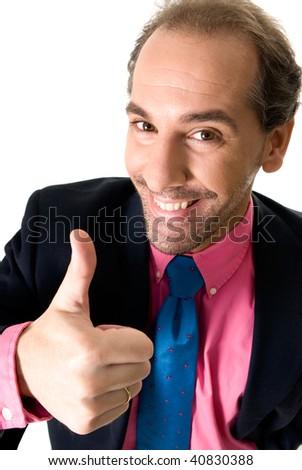 Cheerful businessman portrait on white background.