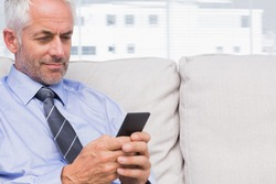 Cheerful businessman using smartphone on couch in staffroom