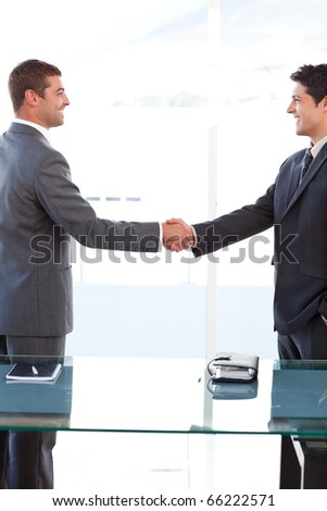 Cheerful businessmen closing a deal by shaking their hands at the office