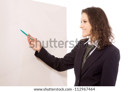 Cheerful businesswoman with a pen, white background