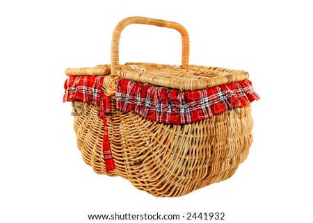 Cheerful cane picnic basket, isolated on white.