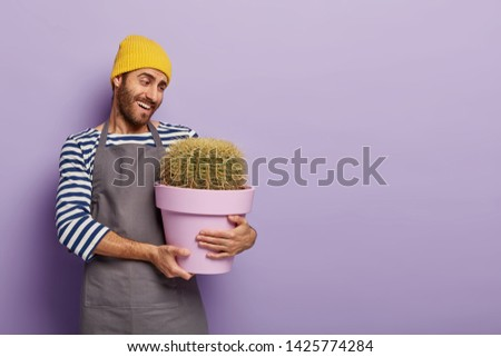 Cheerful caring florist decorator holds pot with big cactus, cares with love about house plants, wears casual apron, being hospitable and friendly. Shopman sells plant and tells customer how to care