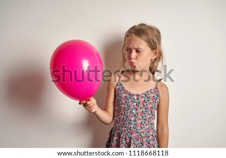 cheerful child with a red balloon #1118668118