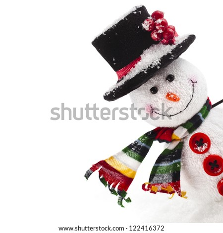 Cheerful Christmas snowman , isolated on white background