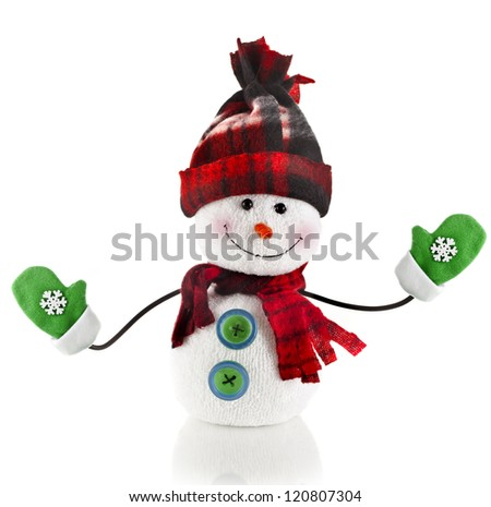 Cheerful Christmas snowman with scarf , mittens and hat , isolated on white background