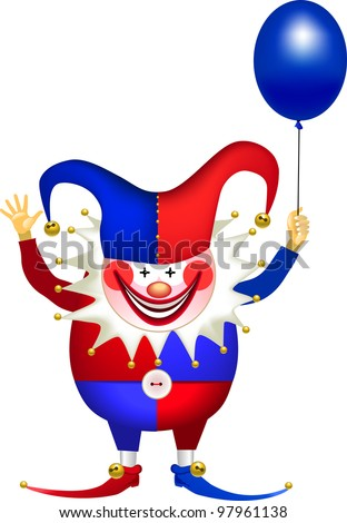cheerful clown with a balloon, april fools' day, rasterized versions