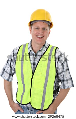 Cheerful Construction Worker Portrait on Isolated Background