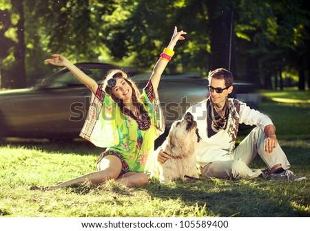 Cheerful couple - stock photo