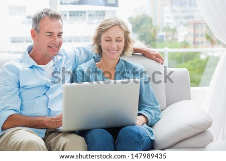 Cheerful couple relaxing on their couch using the laptop at home in the sitting room - stock photo
