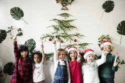 Cheerful diverse kids at Christmas