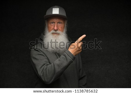 Cheerful excited aged funny sexy gangster cool grandpa dude. Old school, swag, fooling, success, hip hop