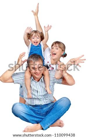cheerful family of three