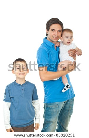 Cheerful father with two boys isolated on white background