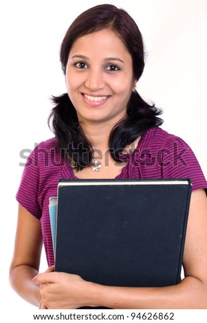 Cheerful female college student against white background