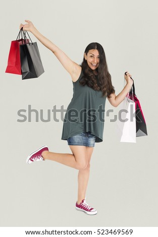 Cheerful Female Shopping Bags Studio  #523469569