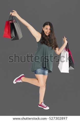 Cheerful Female Shopping Bags Studio Concept #527302897