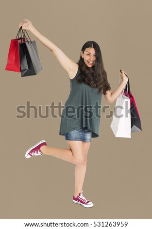 Cheerful Female Shopping Bags Studio Concept #531263959