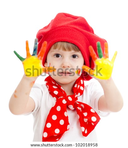 cheerful girl kid with painted hands, isolated over white