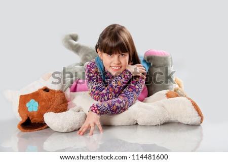 cheerful girl playing - stock photo