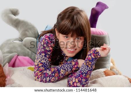 cheerful girl playing