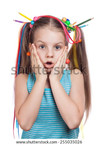 cheerful girl surprised and scared Isolation on a white background