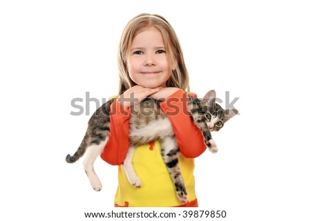 Cheerful girl with a kitten - stock photo