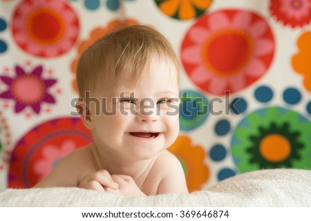 cheerful girl with Down syndrome