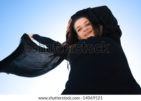 cheerful girl with the black scarf