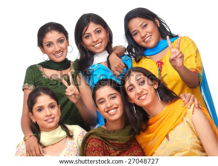 cheerful group of girls