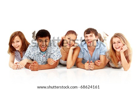 Cheerful group of young people. Isolated.