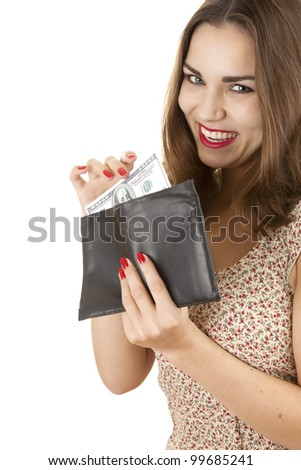 cheerful happy girl taking hundred dollars from wallet, white background