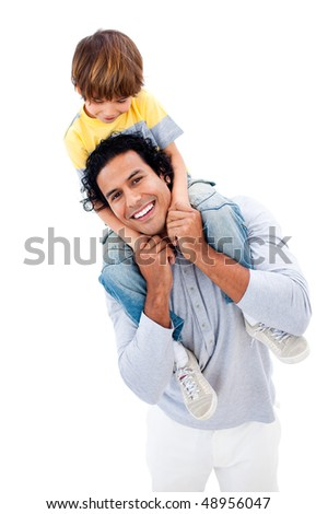 Cheerful little boy having fun with his father against a white background