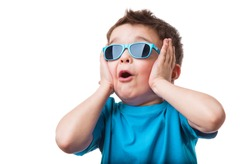 Cheerful little boy in sunglasses express surprised face, isolated on white background