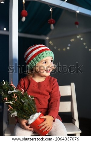 Cheerful little girl Santa hat holding small Christmas tree hands
