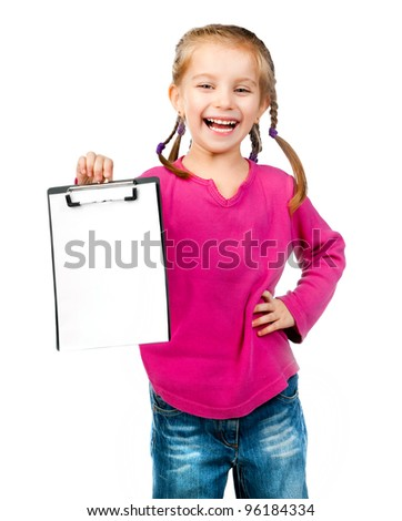 cheerful little girl with white blank