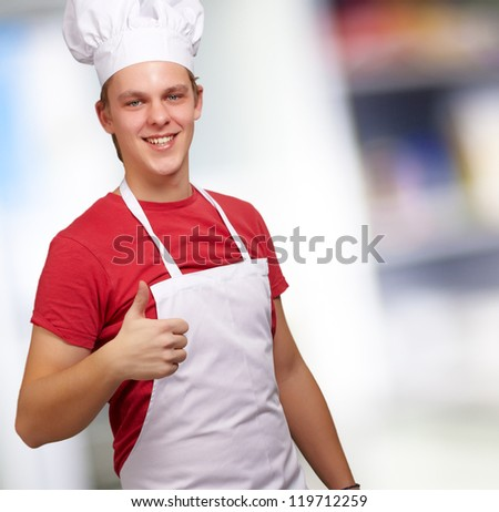 Cheerful Male Chef With Thumbs Up, Indoor