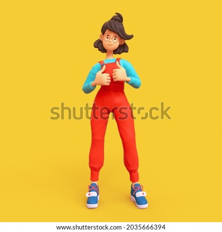 Cheerful mood of kawaii casual brunette girl in glasses wearing red apron, blue t-shirt showing thumb up, positive hand gesture, good job, respect. Minimal stylized art. 3d render on yellow backdrop