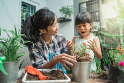 cheerful mother and daugther while planting in the garden at home