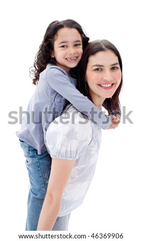 Cheerful mother giving her daughter piggyback ride against a white background